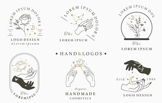 Schönheit okkulte logo-sammlung mit hand, geometrisch, kristall, mond, rose. illustration für symbol, logo, aufkleber, bedruckbar und tätowierung