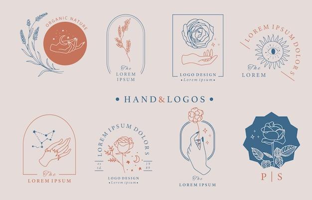 Schönheit okkulte logo-sammlung mit hand, geometrisch, rose, mond, stern, blume. vektorillustration für ikone, logo, aufkleber, bedruckbar und tätowierung