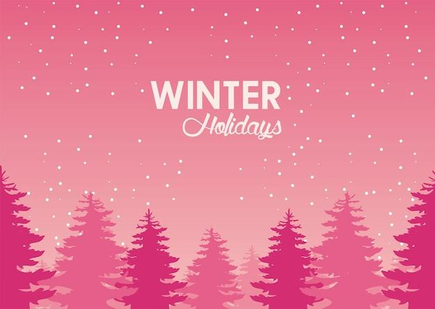 Schönheit rosa winterlandschaft mit waldszenenillustration