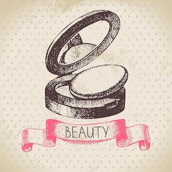 Schönheit-skizze-hintergrund. vintage handgezeichnete vektor-illustration der kosmetik
