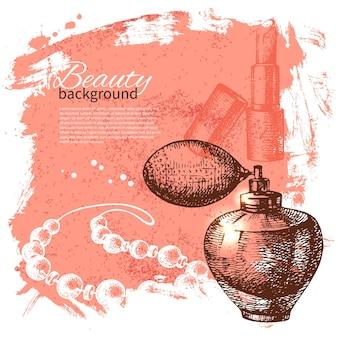 Schönheit-skizze-hintergrund. vintage handgezeichnete vektor-illustration von kosmetischen accessoires