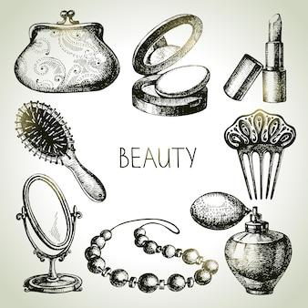 Schönheit-skizze-icon-set. vintage handgezeichnete vektorillustrationen von kosmetik