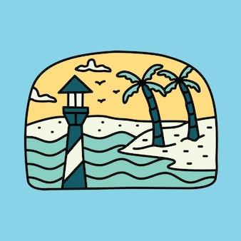 Schönheit sommer und leuchtturm grafische illustration vektorgrafiken t-shirt design