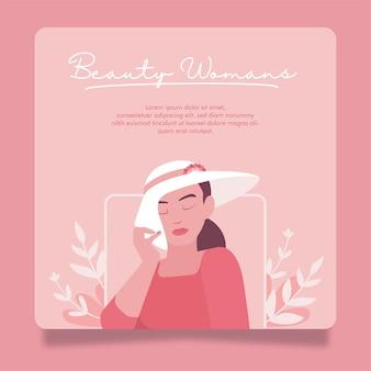 Schönheit und junge frau flache illustration mit einfacher pastellfarben-social-media-banner-vorlage