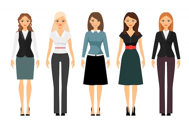 Schönheiten im unterschiedlichen artkleidungsvektor. frauen kleiderordnung illustration