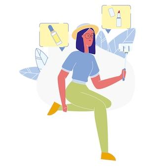 Schönheits-blogger taking selfie flat illustration