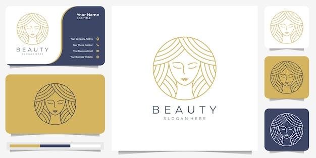 Schönheits-frauenhaarkreis-linienkunststil. logo und visitenkarte template.nature, strichzeichnungen, schlank, haarschnitt, schönheitsgesicht.