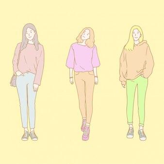 Schönheits-mädchen-hand gezeichnete illustration