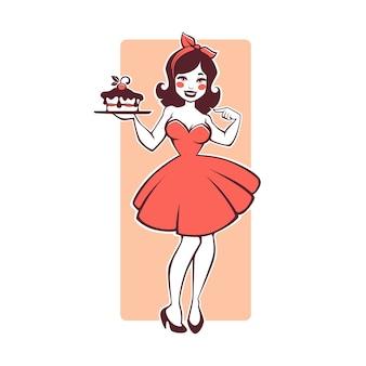 Schönheits-retro-pinup-cartoon-mädchen, das einen köstlichen leckeren kuchen hält