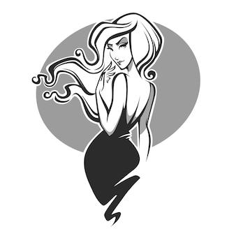 Schönheits- und zauberfrauenbild mit dem reichen haar
