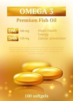 Schönheitsanzeigenhintergrund. goldene ölkapsel premium-design-vorlage mit molekülen vitamin e oder kollagen vektor realistisch. illustrationsöl golden, gesundheitskapsel für die haut