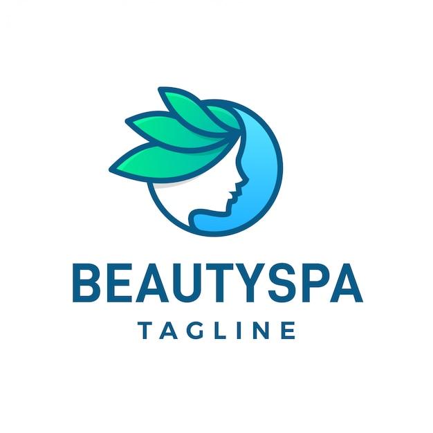 Schönheitsbadekurort-mädchengesicht mit natürlichem logo der blätter