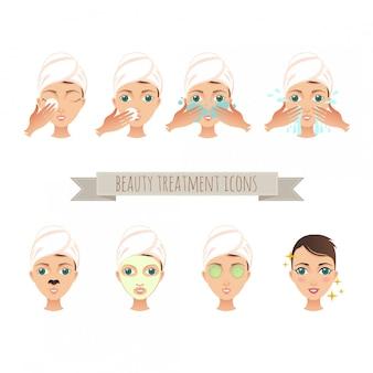 Schönheitsbehandlung, gesichtspflege, maskenillustration