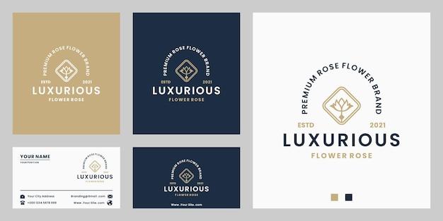 Schönheitsblumenladen, etiketten-logo-design im retro-stil für floristen, produkt mit farbverlauf