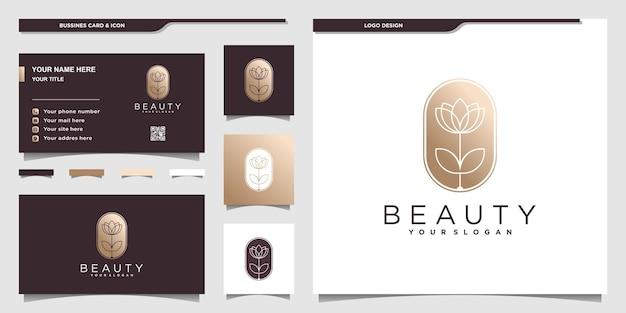 Schönheitsblumenlogo mit goldenen farbverlaufsfarben und visitenkartendesign premium-vektor