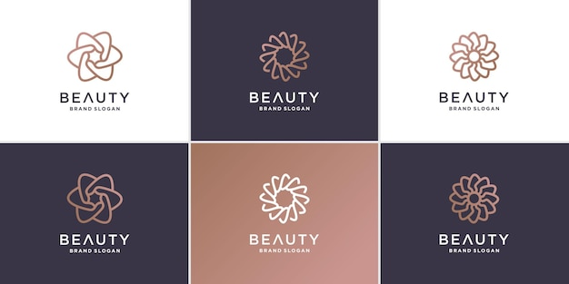 Schönheitsblumenlogosammlung mit minimalistischem linienkonzept premium-vektor