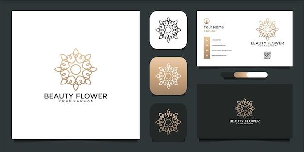 Schönheitsblumenschablonenlogodesign und visitenkarte premium-vektor
