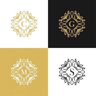 Schönheitsbuchstabe c, g, m, s, logo-vektorillustration