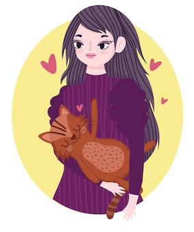 Schönheitsfrau, die katze haustier katzenartige tierkarikaturillustration trägt
