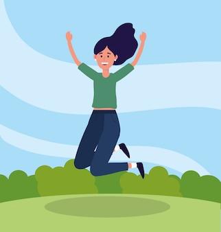Schönheitsfrau, die mit beiläufiger kleidung springt