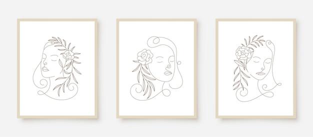 Schönheitsfrau gesichter im linienkunstblumenrahmen