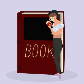 Schönheitsfrau mit brille, die ein buch liest, das mit großer lehrbuchillustration steht