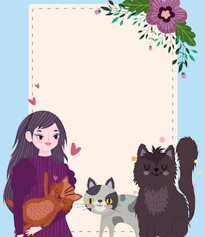 Schönheitsfrau mit katzenblumendekorationskarikatur, grußkartenschablonenillustration
