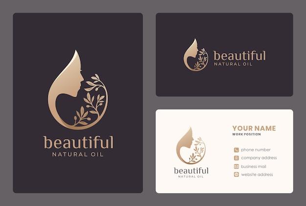 Schönheitsfrau / olivenöl-logoentwurf mit visitenkartenschablone.