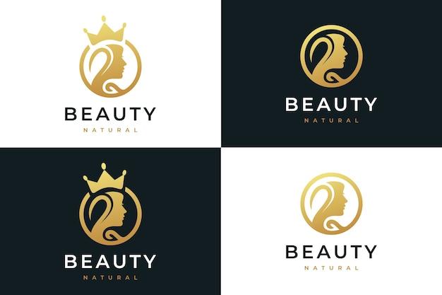 Schönheitsfrauen, natürliches spa, kosmetik, logo-design-inspiration