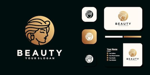 Schönheitsfrauen, schönheitspflege, frauengesicht, goldfarbe, eleganz, logo und visitenkarte