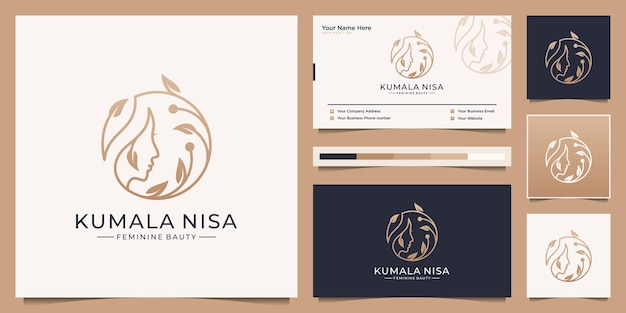 Schönheitsfrauen stellen mit niederlassungsblumenlogo-designluxus gegenüber. minimalistisches elegantes visitenkarten-branding