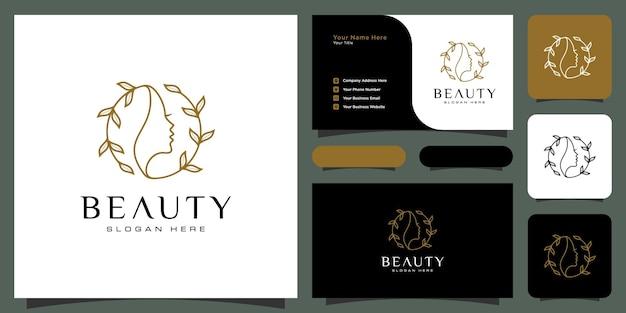 Schönheitsfrauenfrisur-logodesign mit visitenkarte für naturleute-salonelemente