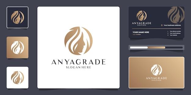 Schönheitsfrauengesicht und -blattlogoschablone. luxus-logo-design für branding-salon mit visitenkarte.