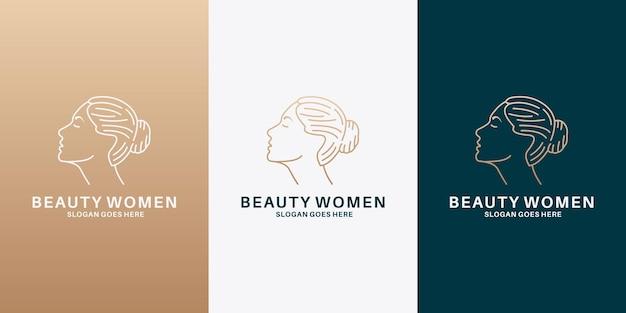 Schönheitsfrauengesichts- und -frisurlogodesign für saloon, kosmetik, spa,