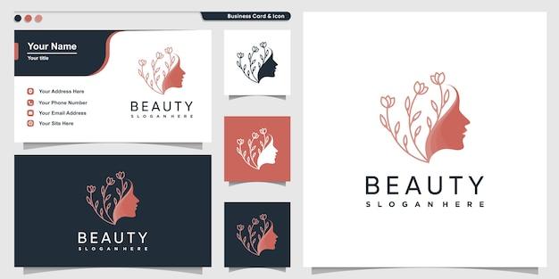 Schönheitsfrauenlogo mit blumenlinienkunstart und visitenkartenentwurfsschablone, schattenbild, frau, schönheit