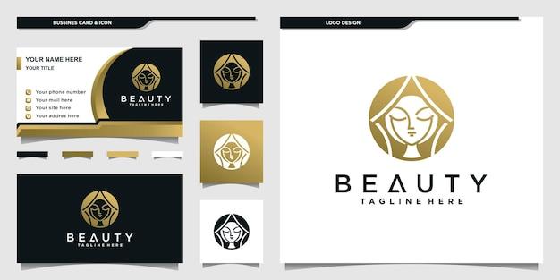 Schönheitsfrauenlogo mit goldenem farbverlaufskonzept für schönheitssalon und visitenkartendesign premium vektor