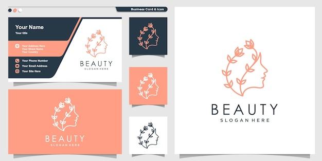Schönheitsfrauenlogo mit linienkunstblumenstil und visitenkartenentwurf