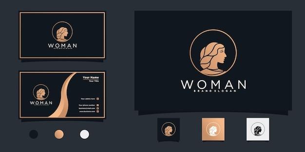 Schönheitsfrauenlogodesign für salon mit minimalistischem formlogodesign und visitenkarte premium-vektor