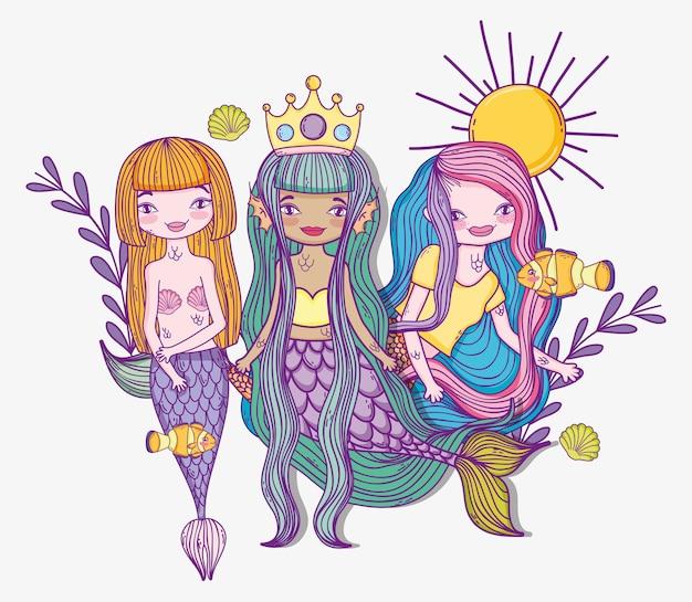 Schönheitsfrauenmeerjungfrauen mit anlagen und oberteilen