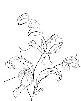 Schönheitsgesicht mit blumentulpen, strichzeichnungskunst. abstraktes minimales frauenporträt. - vektor-illustration