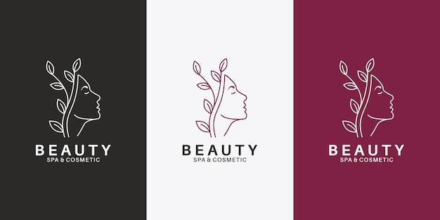 Schönheitsgesichtsfrauen mit blattlogodesign