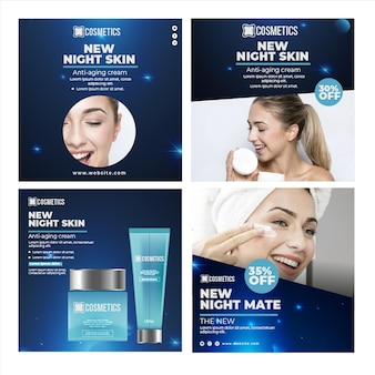 Schönheitsgesichtskosmetik instagram post vorlage