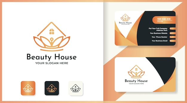 Schönheitshaus-logo-design und visitenkarte