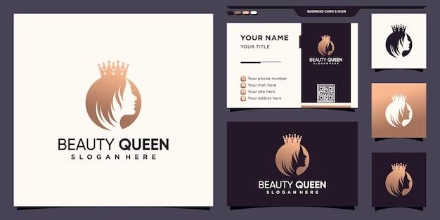 Schönheitskönigin-logo mit kreativem konzept und visitenkartendesign premium-vektor