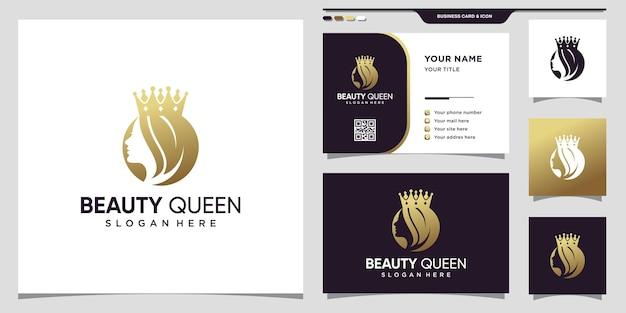 Schönheitskönigin-logo mit negativem raumkonzept der frau und visitenkarte premium-vektor