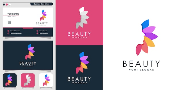 Schönheitslogo für frau mit einzigartigem stil und visitenkarten-designschablone, blatt, frau, schönheit, gesicht, blatt, modern,