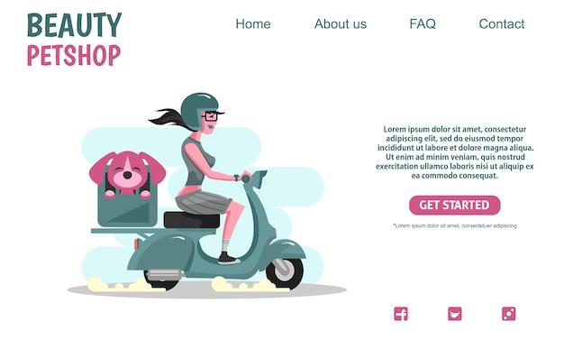 Schönheitsmädchen, das grünes rollerweinlese-motorrad trägt, das katze, tierhandlung firma trägt.