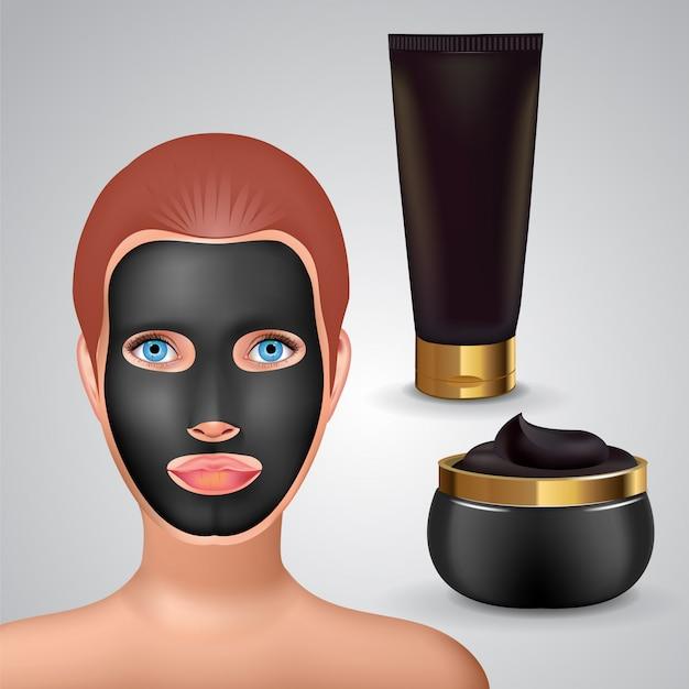 Schönheitsmode-mädchen tragen gesichtsmaske schwarze maske auf. gesichtsmaske kosmetikverpackung.