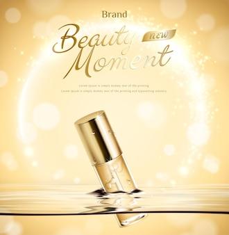 Schönheitsmomenttröpfchenflasche schweben im wasser auf goldenem glitzerndem hintergrund in der 3d-illustration