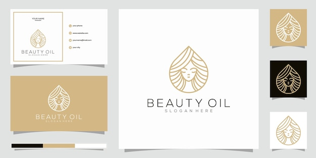 Schönheitsöl logo design template element und visitenkarte. schönheitsöl-konzept.